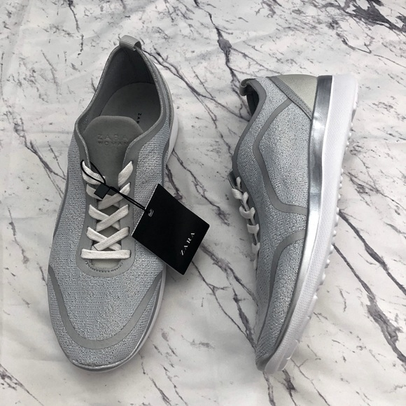 NWT Zara Gray Silver Lace-Up Sneakers